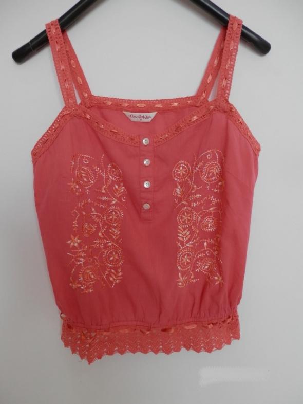 Bluzka Koszulka Bawełniana Koralowa Haft Boho Miss Selfridge XL