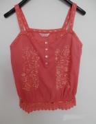 Bluzka Koszulka Bawełniana Koralowa Haft Boho Miss Selfridge XL...