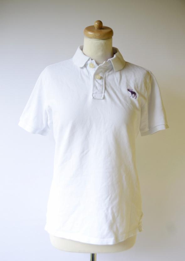Koszulka Polo Biała Abercrombie&Fitch S 36 Polówka Biel