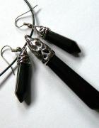 Wisiorek i kolczyki onyks czarny i srebro zestaw biżuterii...