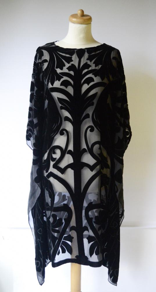 Stroje kąpielowe Pareo Czarne Zara M 38 Tłoczony Wzór Nietoperz Sukienka