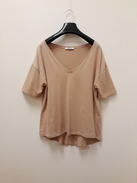 ZARA koszulka tshirt 100 bawełna pudrowy róż Vneck 36
