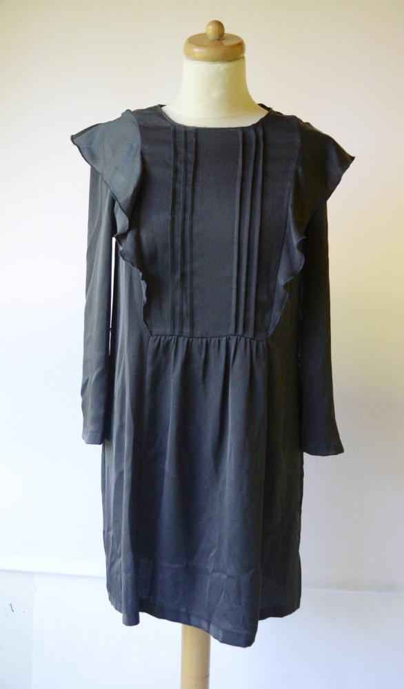 Sukienka Zara S 36 Szara Elegancka Szrość Wizytowa Żabot