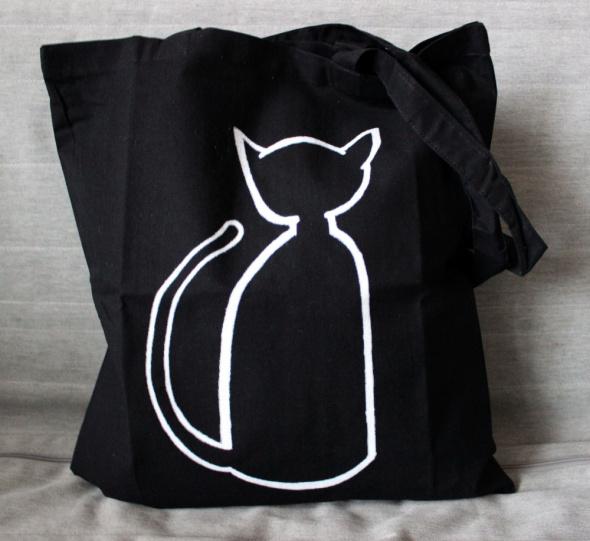 ECO Torba bawełniana czarna z kotem Prezent dla kociar i kociarzy
