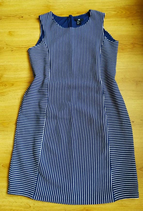 Sukienka paski niebieska granatowa H&M XL 42...