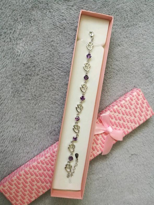 Bransoletka serca fioletowy kryształ idealna na prezent