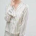 satynowy komplet JOA koszulowa marynarka spódnica z falbanką S 36