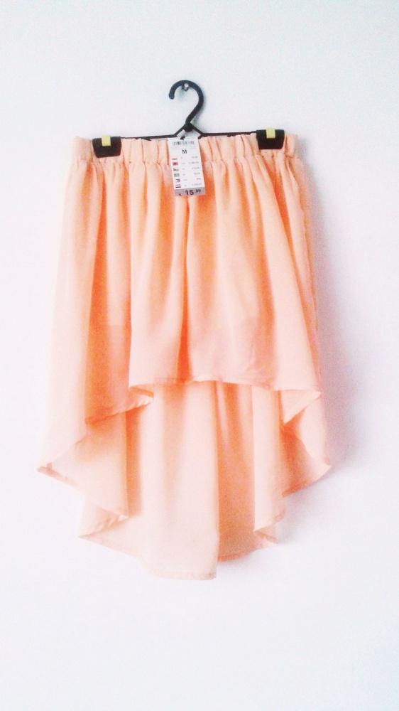 NOWA brzoskwiniowa spódnica asymetryczna zwiewna pastelowa