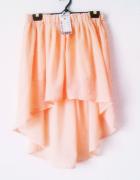 NOWA brzoskwiniowa spódnica asymetryczna zwiewna pastelowa...