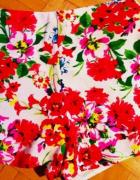 36 S krotkie spodenki wysoki stan materialowe floral kwiaty