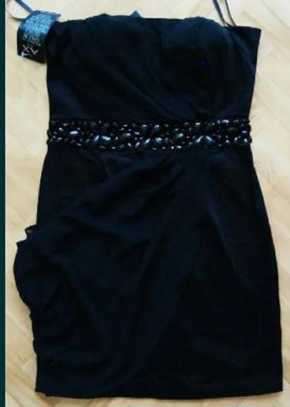 Suknie i sukienki XS 34 czarna sukienka elegancka krotka do kolan
