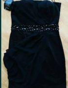XS 34 czarna sukienka elegancka krotka do kolan