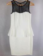 Biała ecru sukienka baskinka z koronką Mohito 38...