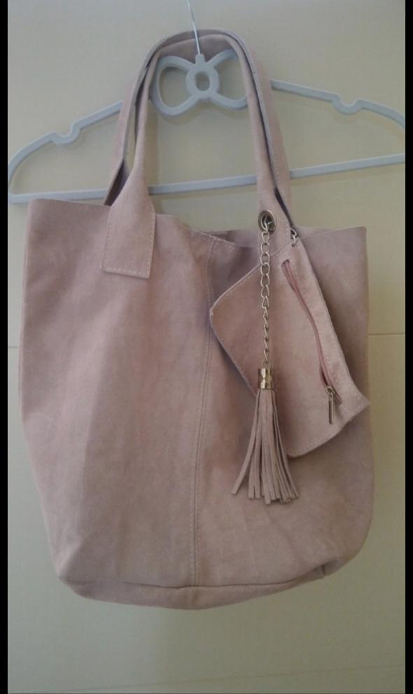 Zamszowa torba pudrowy róż A4