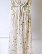 Sukienka Long Zara XS 34 Kremowa Kwiaty Dłuższa Kwiatki...