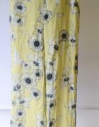Spodnie Zara Basic S 36 Kwiaty Żółte Proste Nogawki Lampasy...