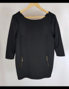 Tunika bluzka czarna zamki L