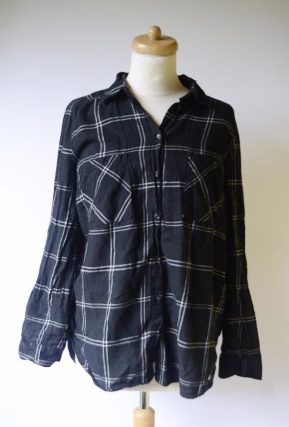 Koszule Koszula Czarna H&M Divided XL 42 Kratka Bawełna