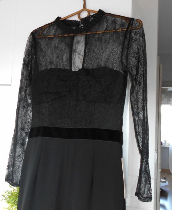 Zara nowy czarny elegancki kombinezon koronkowy długi