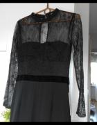 Zara nowy czarny elegancki kombinezon koronkowy długi...