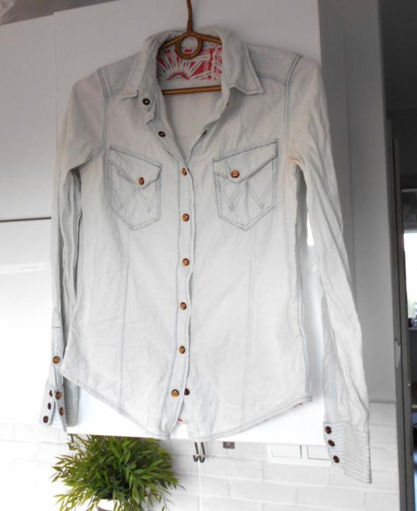 Wrangler koszula jeansowa marmurkowa jasny jeans