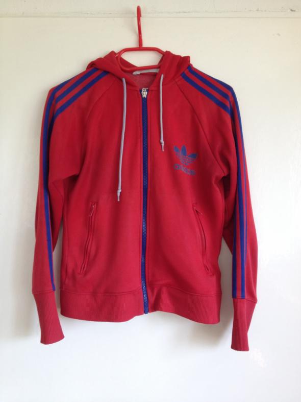 Bluza Adidas używana tania M L 38 40 czerwona niebieskie paski