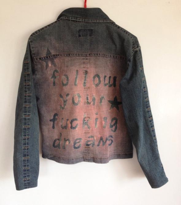 Kurtka handmade diy jeansowa XS S 34 36 follow your dreams używana