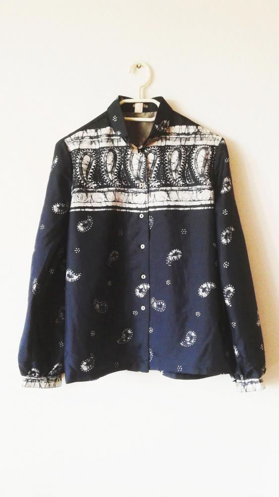 Koszule Biało granatowa koszula vintage na guziki retro vintage