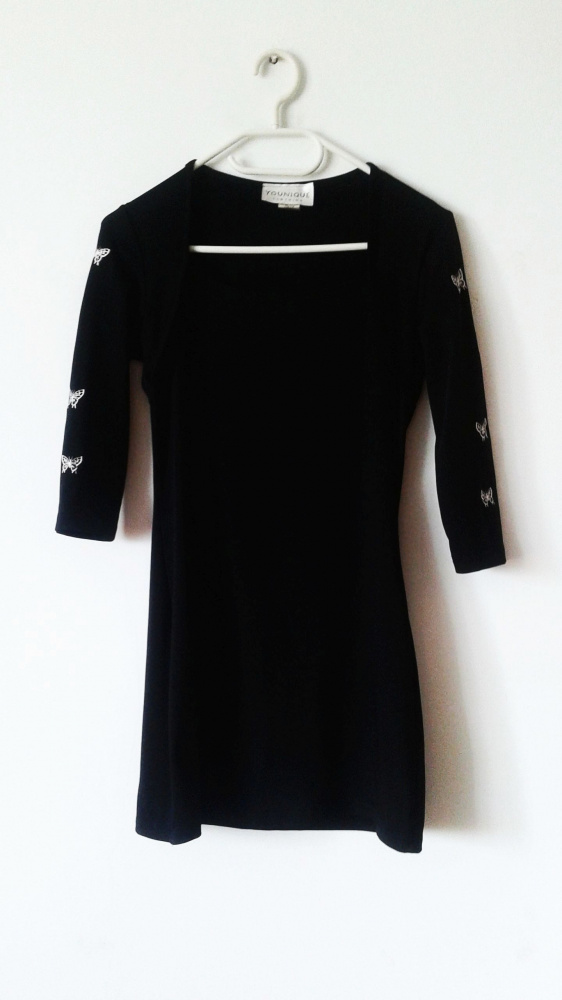 Czarna sukienka tunika z haftem motyle bolerko vintage