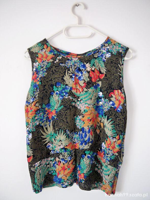 Kolorowa bluzka we wzory roślinne vintage wzorzysta
