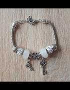 Nowa bransoletka modułowa beads charms srebrny biały kolor kora...