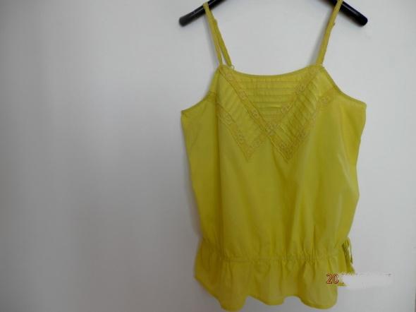 Bluzka Koszulka Bawełniana Limonkowa Koronka Boho Next XXL