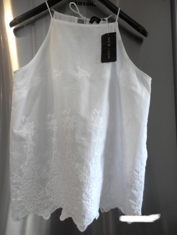 Bluzka Koszulka Śnieżnobiała Ażurowy Haft Boho New Look Nowa z Metką L