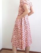 Urocza różowa sukienka vintage w kwiatki 90s 80s retro midi lat...