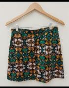 H&M złoto zielona spódnica print leaf...