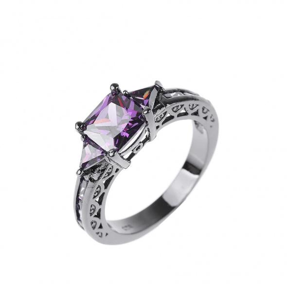 Nowy czarny pierścionek fioletowe cyrkoni retro goth styl