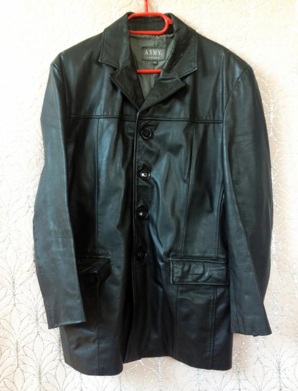 Męska kurtka marynarka skórzana M Ashy London używana czarna