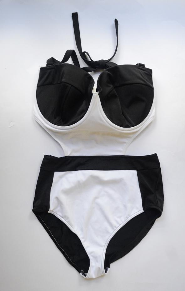Strój Kostium Kąpielowy Czarny Biały NOWY Asos 90I Sexy