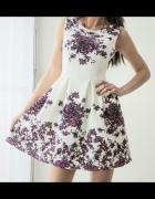Sukienka w kwiaty koktajlowa