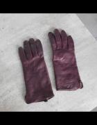 HM fioletowe skórzane rękawiczki śliwkowe skóra