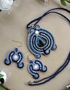 Komplet sutasz błękitny z koralikami naszyjnik i kolczyki...