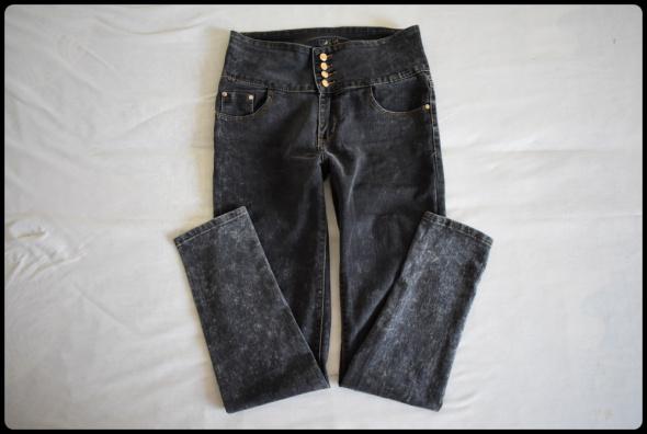 Elastyczne spodnie jeansowe wysoki stan rozmiar 40 L