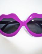NOWE fioletowe okulary przeciwsłoneczne usta pink up vintage...