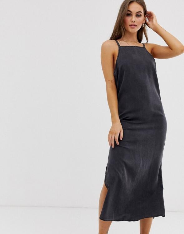 Suknie i sukienki Sukienka szara prosta dekatyzowana rozmiar SM