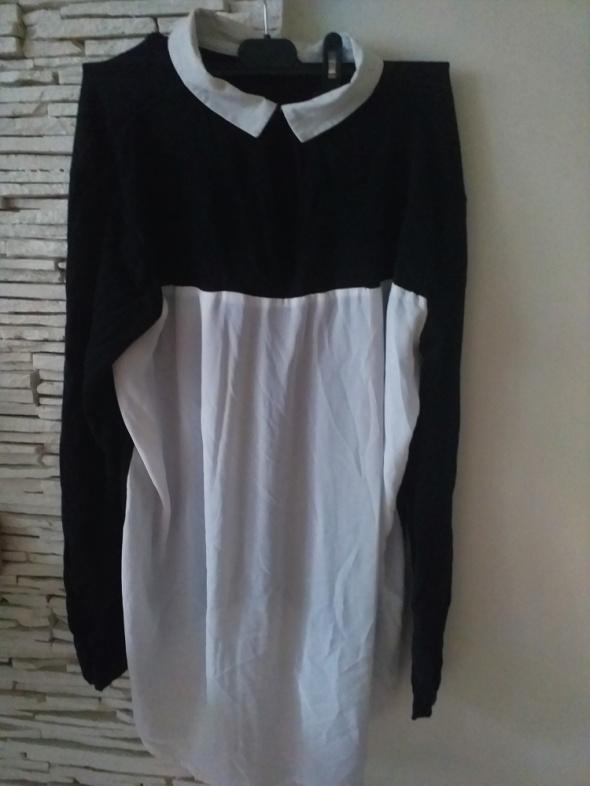 asymetryczna bluzka sweterek black red white Atmosphere