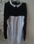 asymetryczna bluzka sweterek black red white Atmosphere...