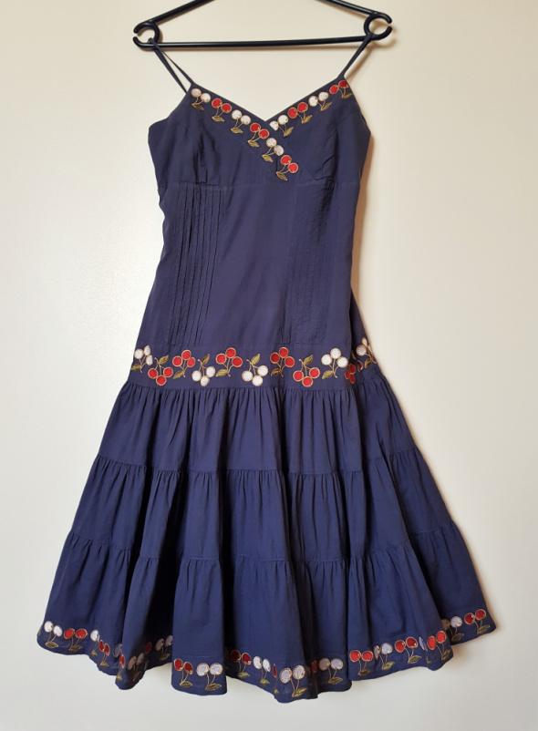 SABRA Letnia bawełniana haftowana sukienka na ramiączkach
