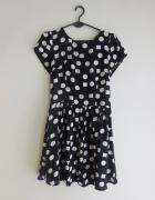 Glamorous czarno biała sukienka w kropki groszki 38 M