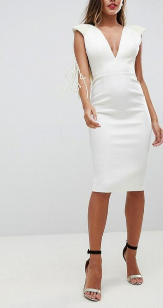Nowa biała sukienka Asos bogato zdobiona rozmiar M