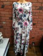 Długa suknia z motywem kwiatów